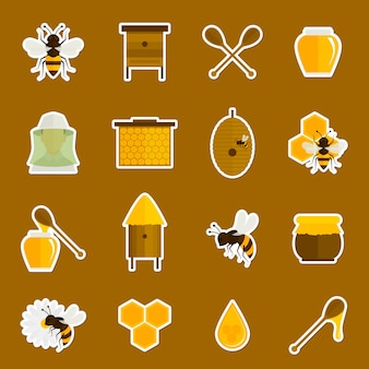 Bee honey ikony naklejki zestaw łyżką jar trzmiel izolowane ilustracji wektorowych