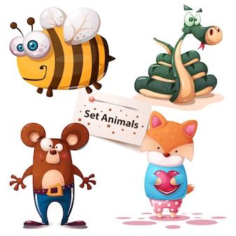 Bee, snake, bear fox set animals