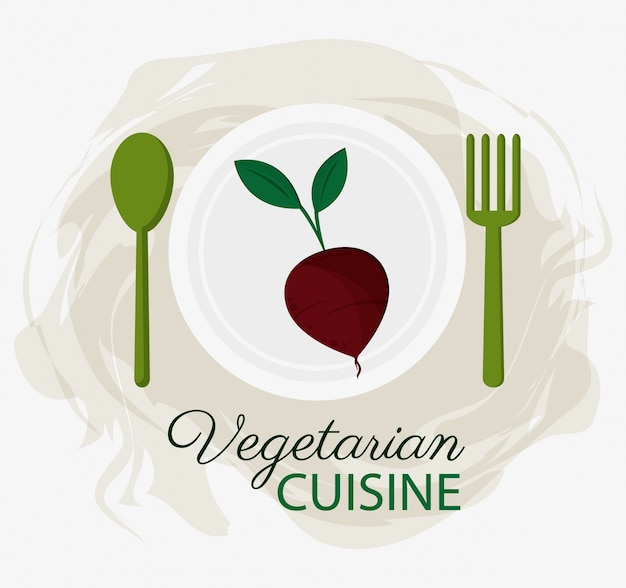 Beet wegetariańskie dania kuchni organicznej talerz i łyżka widelca