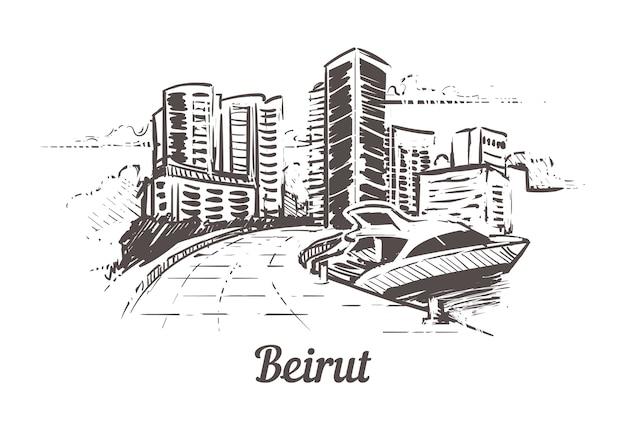Bejrut ręcznie rysowane krajobraz