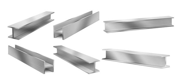 Belki konstrukcyjne metalowe, dźwigary konstrukcji stalowej. wektor realistyczny zestaw belek ze stali nierdzewnej do budowy, żelazny profil konstrukcyjny na białym tle. 3d ilustracja mocnych belek dwuteowych