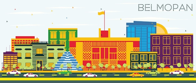 Belmopan skyline z kolorowymi budynkami i błękitnym niebem. ilustracja wektorowa. podróże służbowe i koncepcja turystyki z nowoczesną architekturą. belmopan gród z zabytkami.