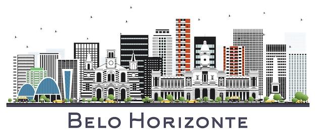 Belo horizonte brazylia panoramę miasta z kolorowymi budynkami na białym tle