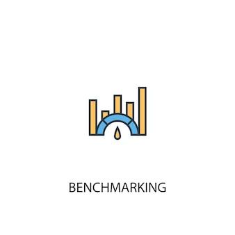 Benchmarking koncepcja 2 kolorowa ikona linii. prosta ilustracja elementu żółty i niebieski. projekt symbolu zarysu koncepcji benchmarking
