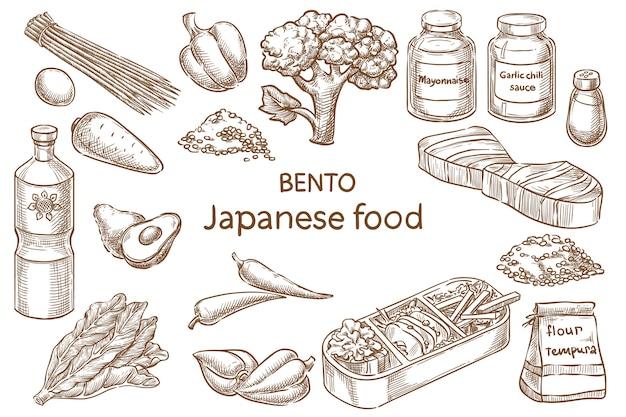 Bento. japońskie jedzenie. składniki. szkic wektor