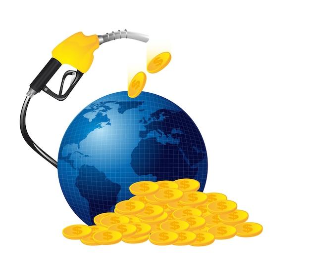 Benzyny paliwa z ilustracji wektorowych pieniądze na białym tle