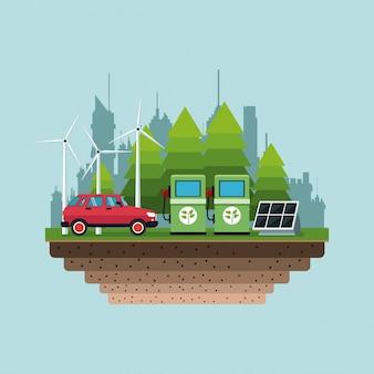 Benzyny pompy panelu słonecznej turbiny wiatru alternatywnej energii miasta tło