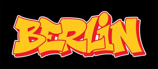 Berlin niemcy graffiti ozdobny napis wandal sztuka uliczna wolny dziki styl na ścianie miasta miasto nielegalne działanie przy użyciu farby w aerozolu. t-shirt z nadrukiem hip-hopu