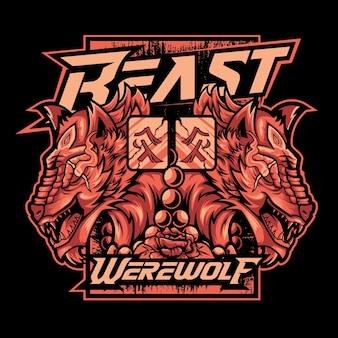 Bestia szablon koszulki premium wilkołak wektor