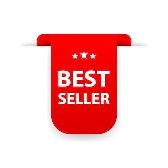Bestseller czerwona wstążka na białym tle