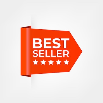 Bestseller czerwona wstążka na zakupy tag na białym tle.