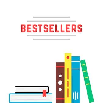 Bestseller ikona z półką na książki. koncepcja reklamy bestsellerów, bibliografia hobbystyczna, prezentacja broszury, edukacja, podręcznik, powieść. płaski trend nowoczesny design marki ilustracji wektorowych na białym tle