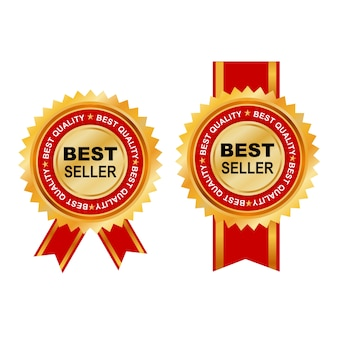 Bestsellerowa etykieta na czerwono i złoto elegancko