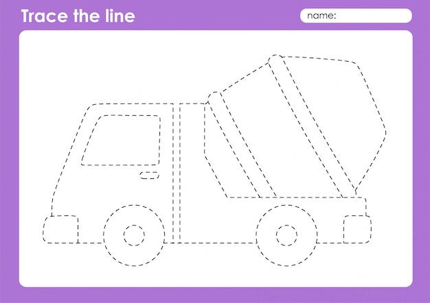 Betoniarka - arkusz śledzenia linii transportowych dla dzieci w wieku przedszkolnym
