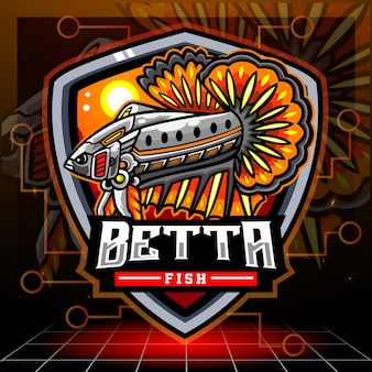 Betta fish mech robot maskotka. projektowanie logo esport