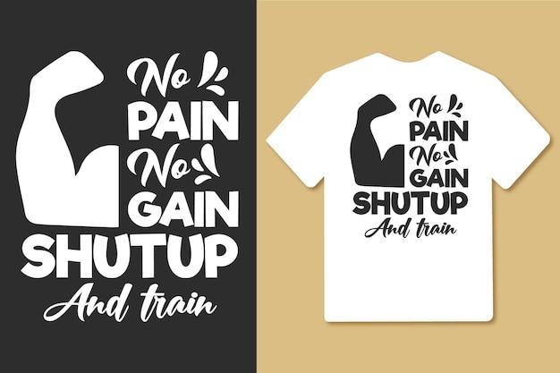 Bez bólu, bez wzmocnienia, typografia siłowni, projekt koszulki treningowej