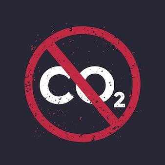 Bez co2, zatrzymaj emisje dwutlenku węgla, grafika wektorowa