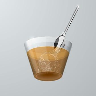 Bez cukru. cukier wlewa się do przezroczystej szklanki, zamieniając się w sylwetkę czaszki. pojęcie krzywdy od słodyczy.