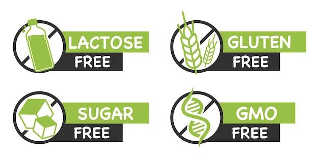 Bez laktozy. bezglutenowe. bez cukru. wolne od gmo. zdrowe, organiczne, naturalne. zestaw naklejek z typowymi alergenami. etykieta zdrowej codziennej żywności, używana do projektowania opakowań. symbole nietolerancji pokarmowej