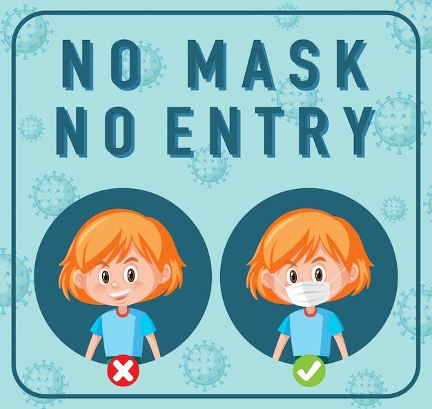 Bez maski, bez znaku wejścia z postacią z kreskówki