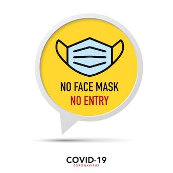 Bez maski na twarz brak znaku wejścia.