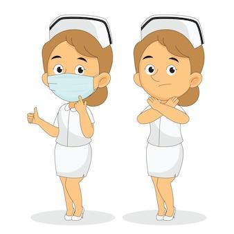 Bez maski, wstępu, pielęgniarka używająca masek na twarz