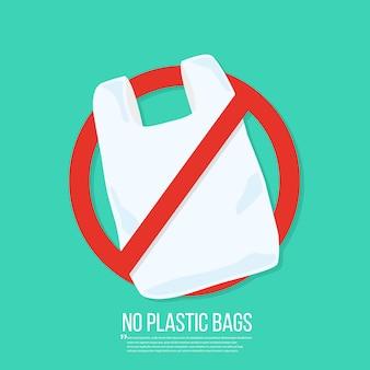 Bez plastikowej torby wektor płaska.
