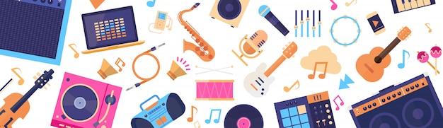 Bez szwu deseń instrumenty muzyczne i sprzęt elektroniczny ikony