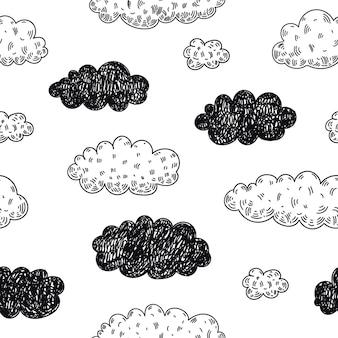 Bez szwu doodle chmury wzór. prognoza pogody, deszczowy dzień w tle. szkic, dziecinny ładny styl.