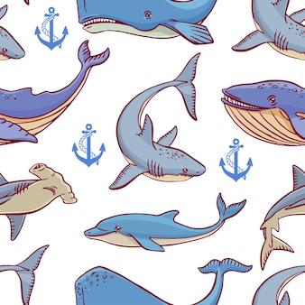 Bez szwu dużych stworzeń oceanicznych. ręcznie rysowane ilustracji