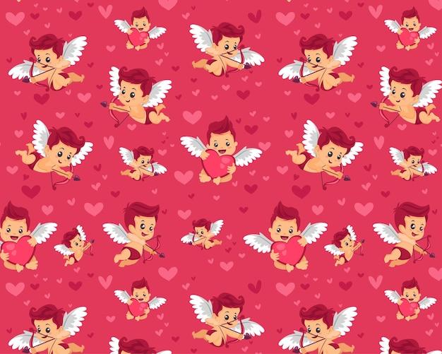 Bez szwu edytowalny wzór tkaniny tekstylnej w pełni konfigurowalny dzieci pakowanie prezentów wzór dziecka miłość para walentynki papier do pakowania prezentów wzór amorek