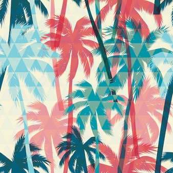 Bez szwu egzotycznych deseń z palmą na tle geometrycznym.