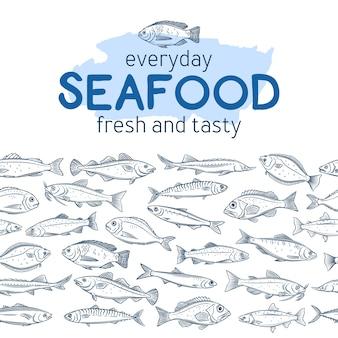 Bez szwu granicy ręcznie rysowane ryby.