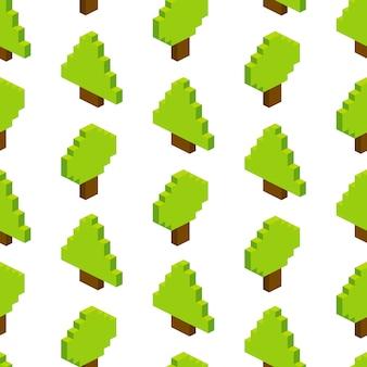 Bez szwu izometryczny drzew. ilustracja w stylu pixel-art