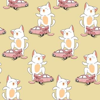 Bez szwu kawaii gigantyczny kot z łamanym wzorem samochodu