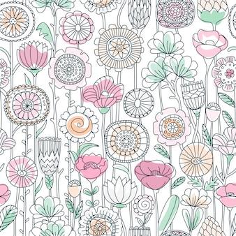 Bez szwu kolor kwiatowy wzór