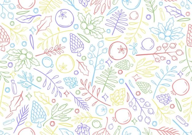 Bez szwu kolorowa linia rysunek ręka boże narodzenie ilustracja czas bożego narodzenia kartki szablon z kwiatami i płatkami w białym tle