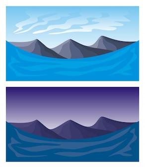 Bez szwu krajobraz oddzielone warstwy dla efektu paralaksy
