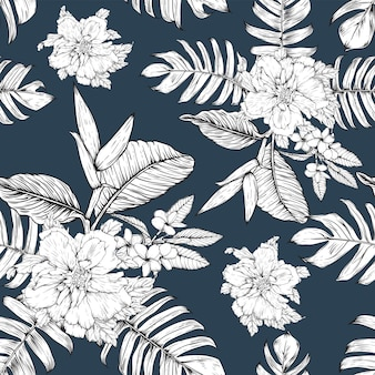 Bez szwu kwiatowy wzór tło kwiaty hibiskusa i frangipani.