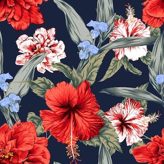Bez szwu kwiatowy wzór tło kwiaty hibiskusa.