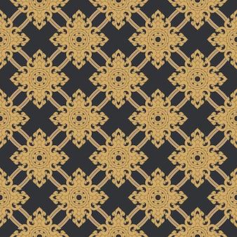 Bez szwu linii tajski złoty wzór