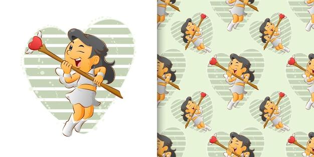 Bez szwu małych dziewczynek-amorek kieruje swój ukochany patyk do nieba