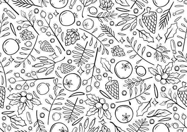 Bez szwu monochromatyczna linia rysunek ręka tło boże narodzenie ilustracja czasu bożego narodzenia kartki szablon z kwiatami i płatkami na białym tle