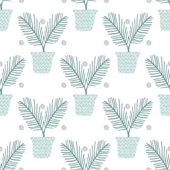 Bez szwu monochromatycznych ręcznie narysowanego palmy w puli wzoru