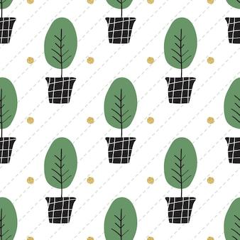 Bez szwu monochromatycznych ręcznie narysowanych drzewa w puli wzoru