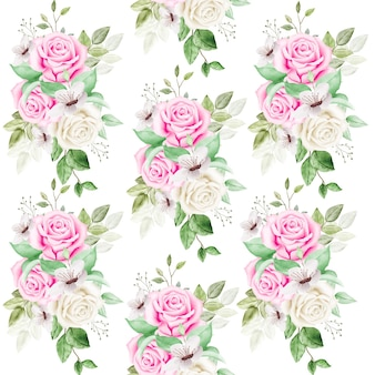 Bez szwu patern z kwiatowymi liśćmi akwarela