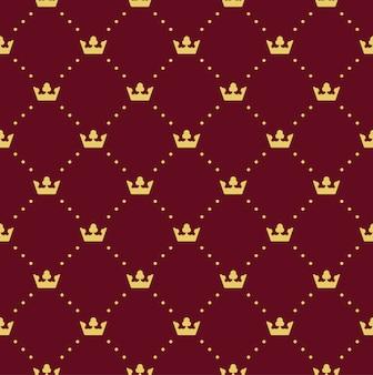 Bez szwu retro wzór, z koronami. może być używany do tapet, wypełnień deseniem, tła strony internetowej, tekstur powierzchni
