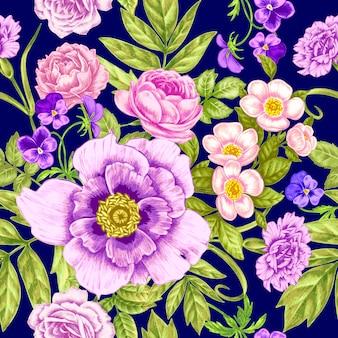 Bez szwu rocznika kwiatowy wzór