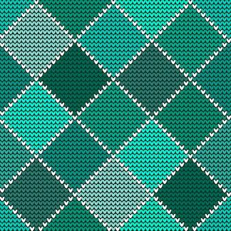 Bez szwu wełniany wzór z dzianiny zielony arlekin