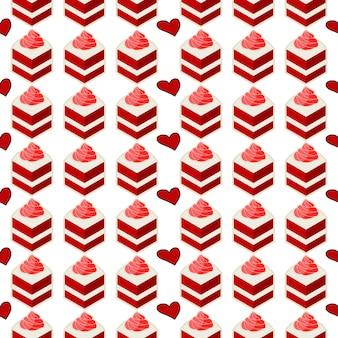 Bez szwu wzór ciasto kawałek czerwonego aksamitu słodki deser piekarnia